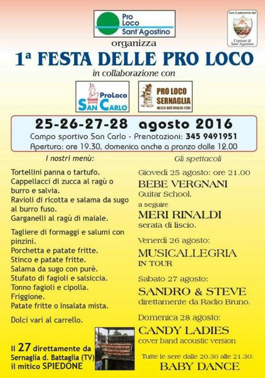 1^ FESTA DELLE PRO LOCO, 25-26-27-28 agosto, a San Carlo (Fe)